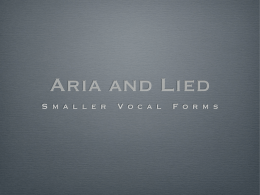 Aria and Lied
