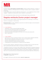 Stagista retribuito/Junior project manager