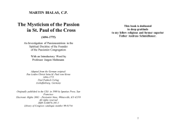 The Mysticism of the Passion in St. Paul of the Cross