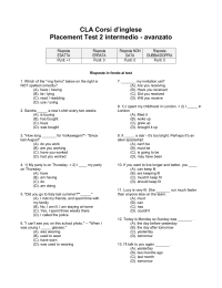 CLA Corsi d`inglese Placement Test 2 intermedio