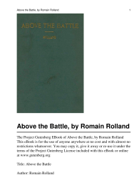 Above the Battle, by Romain Rolland