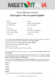 Travel Phrases 9 Parli inglese? Do you speak English?