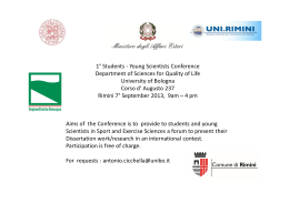 1° Students - Young Scientists Conference Department of Sciences
