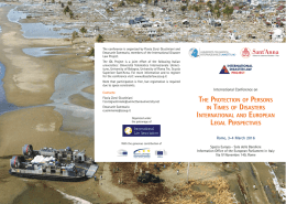 the protection of persons in times of disasters