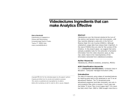 Videolectures Ingredients that can make Analytics - CEUR