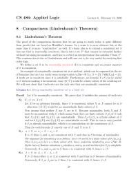 CS 486: Applied Logic 8 Compactness