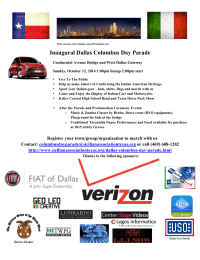 Inaugural Dallas Columbus Day Parade Flyer V28