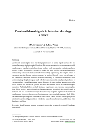 Carotenoid-based signals in behavioural ecology