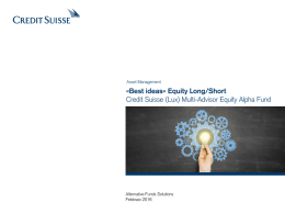 «Best ideas» Equity Long/Short Credit Suisse (Lux) Multi