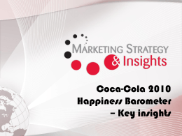 Coca-Cola 2010 Happiness Barometer – Key insights