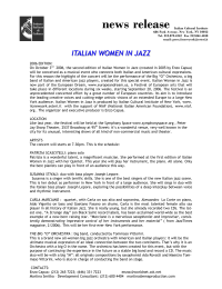 ITALIAN WOMEN IN JAZZ