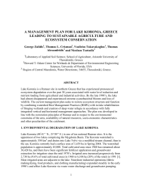 A MANAGEMENT PLAN FOR LAKE KORONIA, GREECE LEADING