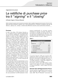 Le rettifiche di purchase price tra il ``signing`` e il ``closing`