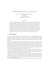 UNIX Password Security - Ten Years Later 1 Introduction