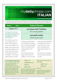 Lesson 011 Today`s Phrases sto imparando l`italiano I`m learning