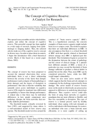 The Concept of Cognitive Reserve: A Catalyst for Research