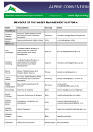 MEMBERS OF THE WATER MANAGEMENT PLATFORM