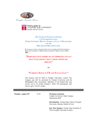 The lectures will be held at Temple University, Center City Campus