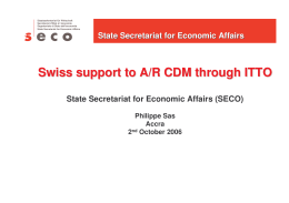 Swiss support to A/R CDM through ITTO