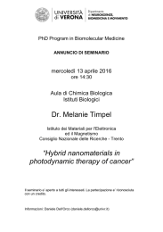 "Dr. Melanie Timpel ""Hybrid nanomaterials in photodynamic therapy"