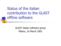Status of the italian contribution to the GLAST offline software