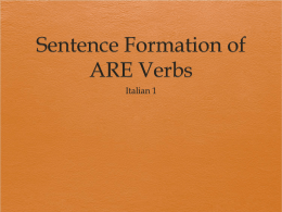 Sentence Formation of ARE Verbs - Elmwood Park Memorial High