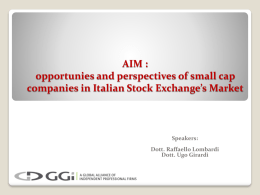 AIM : opportunies and perspectives of small cap companies in Italian