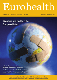 Eurohealth Migration and health in the European Union