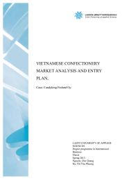 VIETNAMESE CONFECTIONERY MARKET ANALYSIS AND ENTRY PLAN, Case: Candyking Finland Oy