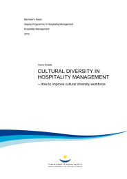 CULTURAL DIVERSITY IN HOSPITALITY MANAGEMENT – How to improve cultural diversity workforce