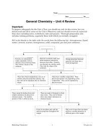 – Unit 4 Review General Chemistry  Important:
