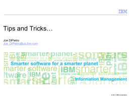 Tips and Tricks…  Information Management Joe DiPietro
