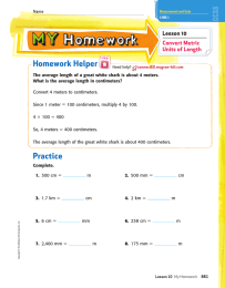 Homework Helper Lesson 10 Convert Metric Units of Length