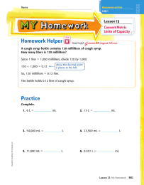 Homework Helper Lesson 13 Convert Metric Units of Capacity