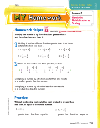 Homework Helper Lesson 8 Hands On: Multiplication as