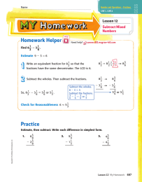 Homework Helper _ Lesson 12 Subtract Mixed