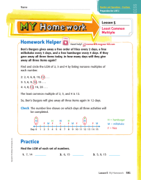 Homework Helper Lesson 5 Least Common Multiple
