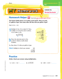 Homework Helper Lesson 13 Divide Decimals