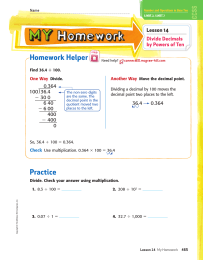 Homework Helper Lesson 14 Divide Decimals by Powers of Ten