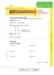 Homework Helper Lesson 9 Estimate Quotients