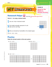Homework Helper Lesson 4 Hands On: Use Models to