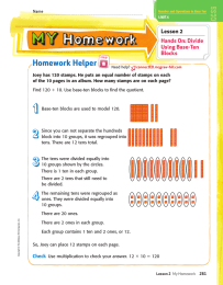 Homework Helper Lesson 2 Hands On: Divide Using Base-Ten