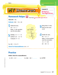 Homework Helper Lesson 3 Divide by a Two-Digit Divisor