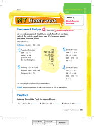 Homework Helper Lesson 5 Divide Greater Numbers
