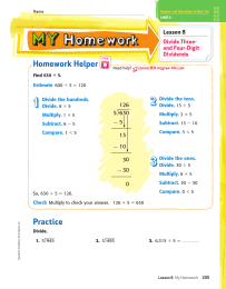 Homework Helper Lesson 8 Divide Three- and Four-Digit