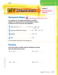 Homework Helper Lesson 7 The Distributive Property