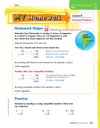 Homework Helper Lesson 8 Estimate Products