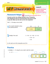Homework Helper Lesson 6 Hands On: Use Partial Products and the