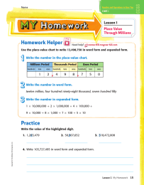 Homework Helper Lesson 1 Place Value Through Millions