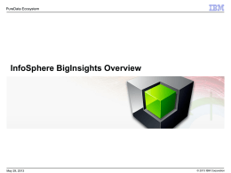 InfoSphere BigInsights Overview PureData Ecosystem May 29, 2013 © 2013 IBM Corporation